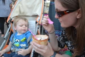 enjoying coconut ice cream in a coconut bowl. love how we have the same face here :)