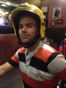 Chris enjoying the fireman hat